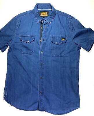 Men Superdry Casual Shirt Copper Black Denim Blue Short Sleeves Cotton XL