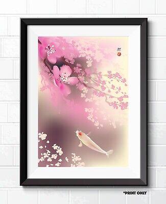 STUNNING JAPANESE KOI CARP FLORAL FINE ART POSTER PRINTS JAPAN KOI ART PRINTS