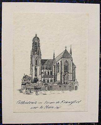 FRANKFURT / Main. Der Dom. Orig. Lithographie von ca. 1840