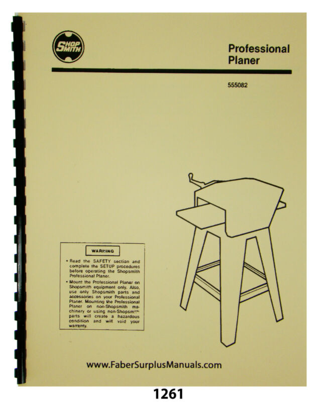 Shopsmith Professional Planer 555082 Operator & Parts List Manual #1261