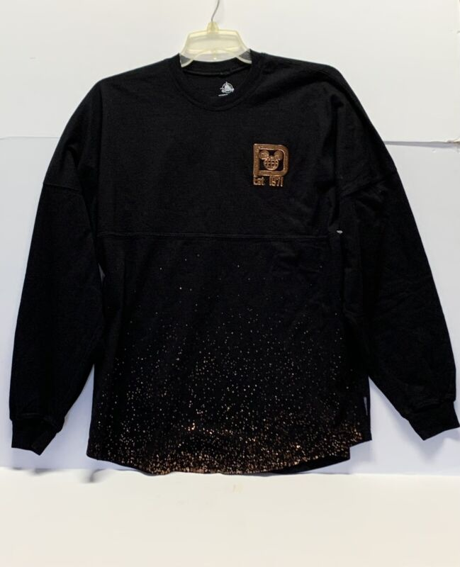 Disney Parks Spirit Jersey 1971 Size Large Black Gold Long Sleeved Shirt Adult
