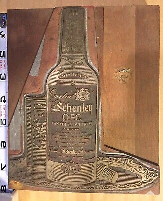 Large Wood Printing Letterpress Printers Block Schenley Whiskey Advertising