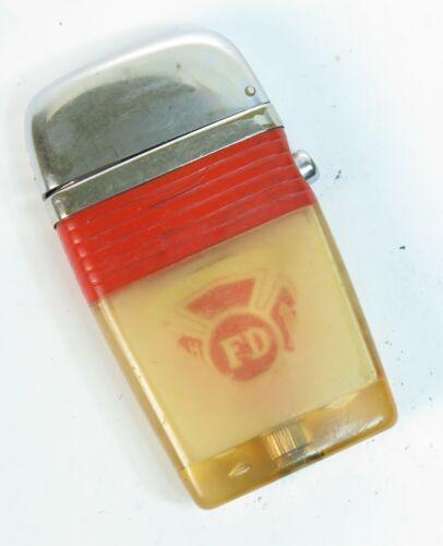 Retro 1960s Scripto See Through Vu Lighter Red Fire Department