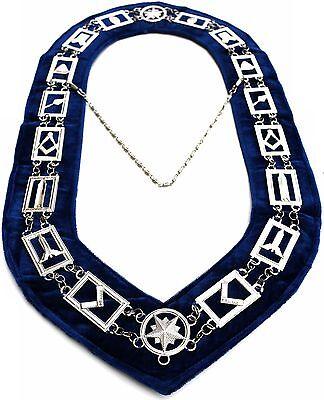 Masonic Collar SILVER Link Blue Backing Master Mason Chain DMR-400SB