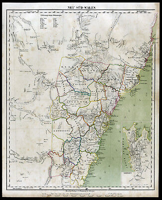 1859 New South Wales Sydney Australia Australien original Landkarte Map