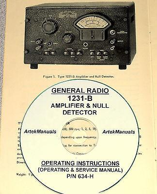 General Radio 1231-b Amplifier Null Detector Operating Service Manual
