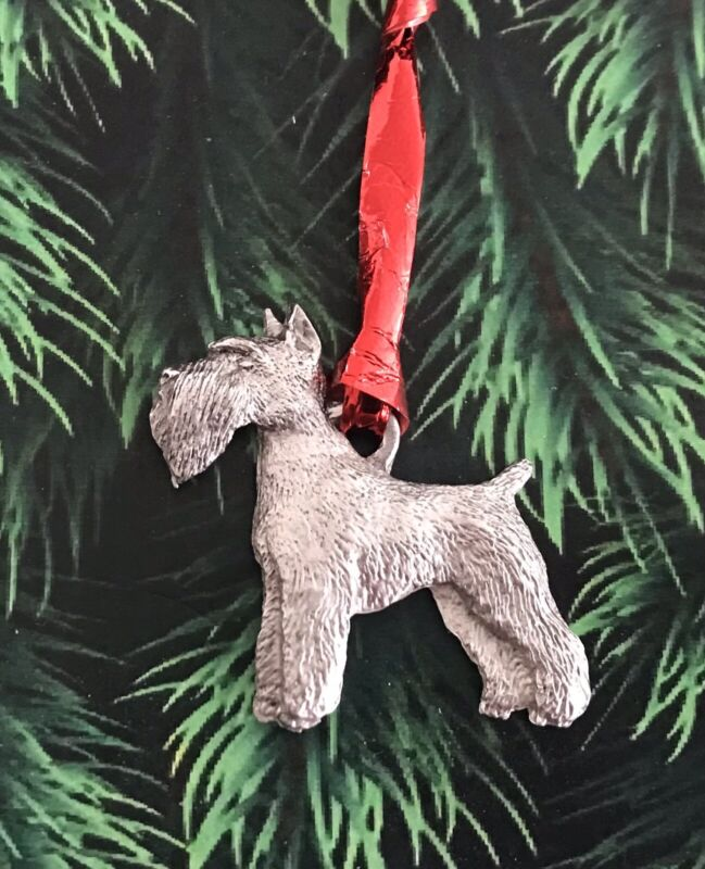 Pewter SCHNAUZER Dog Puppy Silver Metal Christmas Tree Ornament Gift E