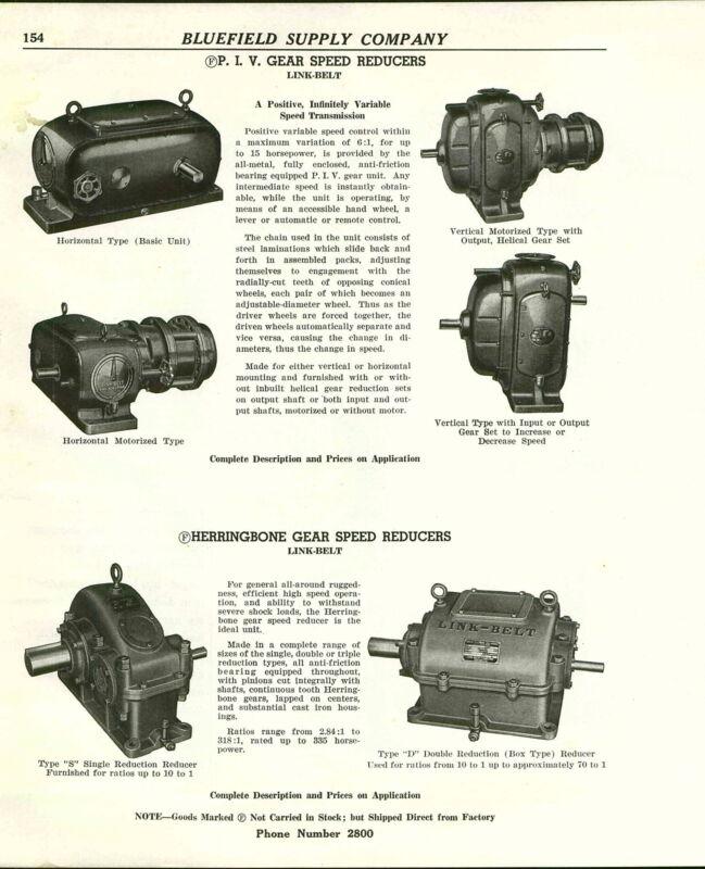 1941 ADVERT Link Belt PIV Gear Speed Reducers Herringbone Duff Norton Jack Mine