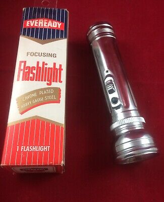 Vintage CHROME EVEREADY FOCUSING FLASHLIGHT T3853 With Original Box