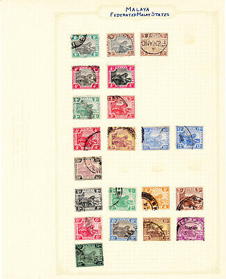 Album Page of Early Federated Malay States Tiger Stamps #AP103