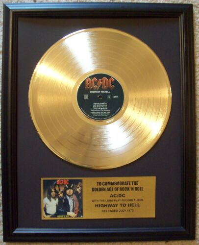 AC/DC HIGHWAY TO HELL Gold LP Record +Mini Album Disc Not a Award in frame