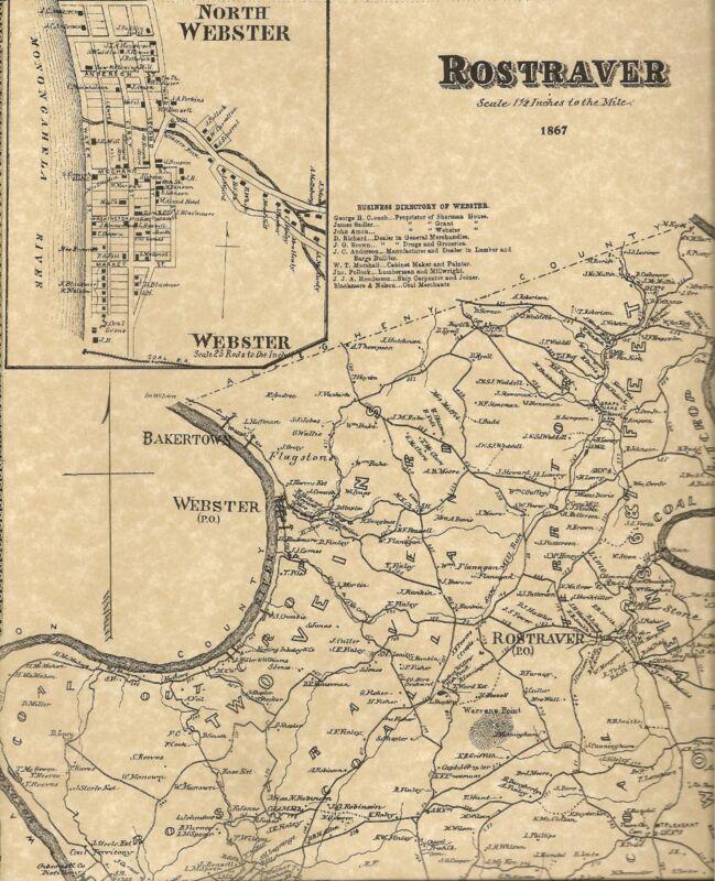 Rostraver West Newton Belle Vernon Monessen  PA 1867 Maps Landowners Names Shown