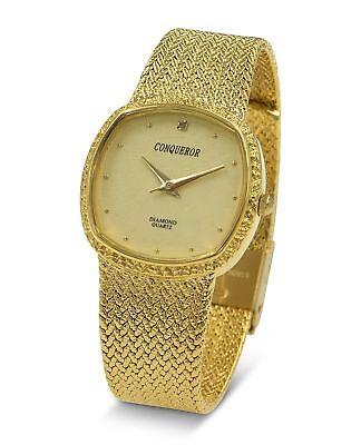 - Conqueror Gold-Tone Watch with Mesh Bracelet and Diamond Unisex Quartz Dress ...