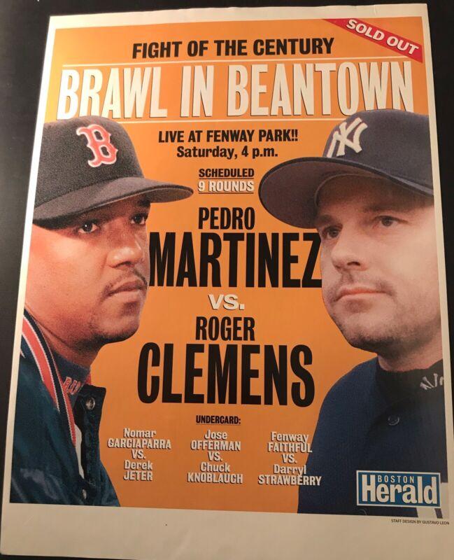 1999 Pedro Martinez  Vs Roger Clemens  Poster  11x17 Boston Red Sox v Yankees Mt