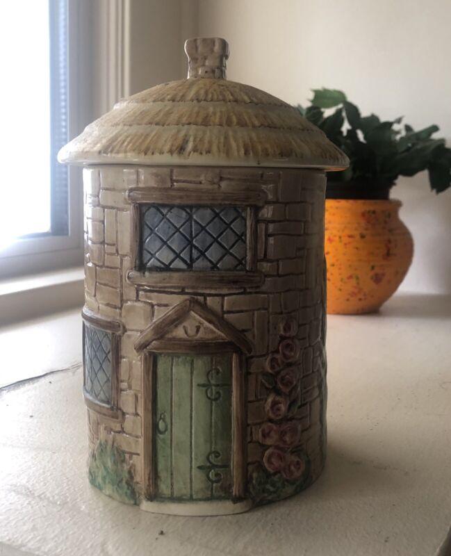 Sylva Ceramic Container England Vintage Cottage Thatch Croft