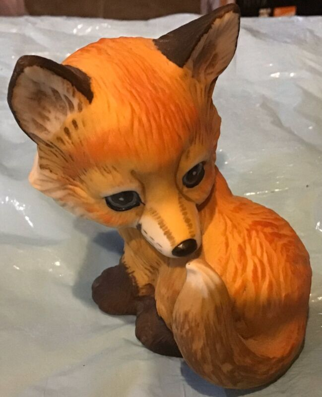 Laying and Sitting Fox Resin Figurine