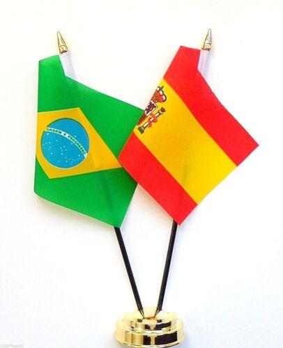 Brazil & Spain Double Friendship Table Flag Set