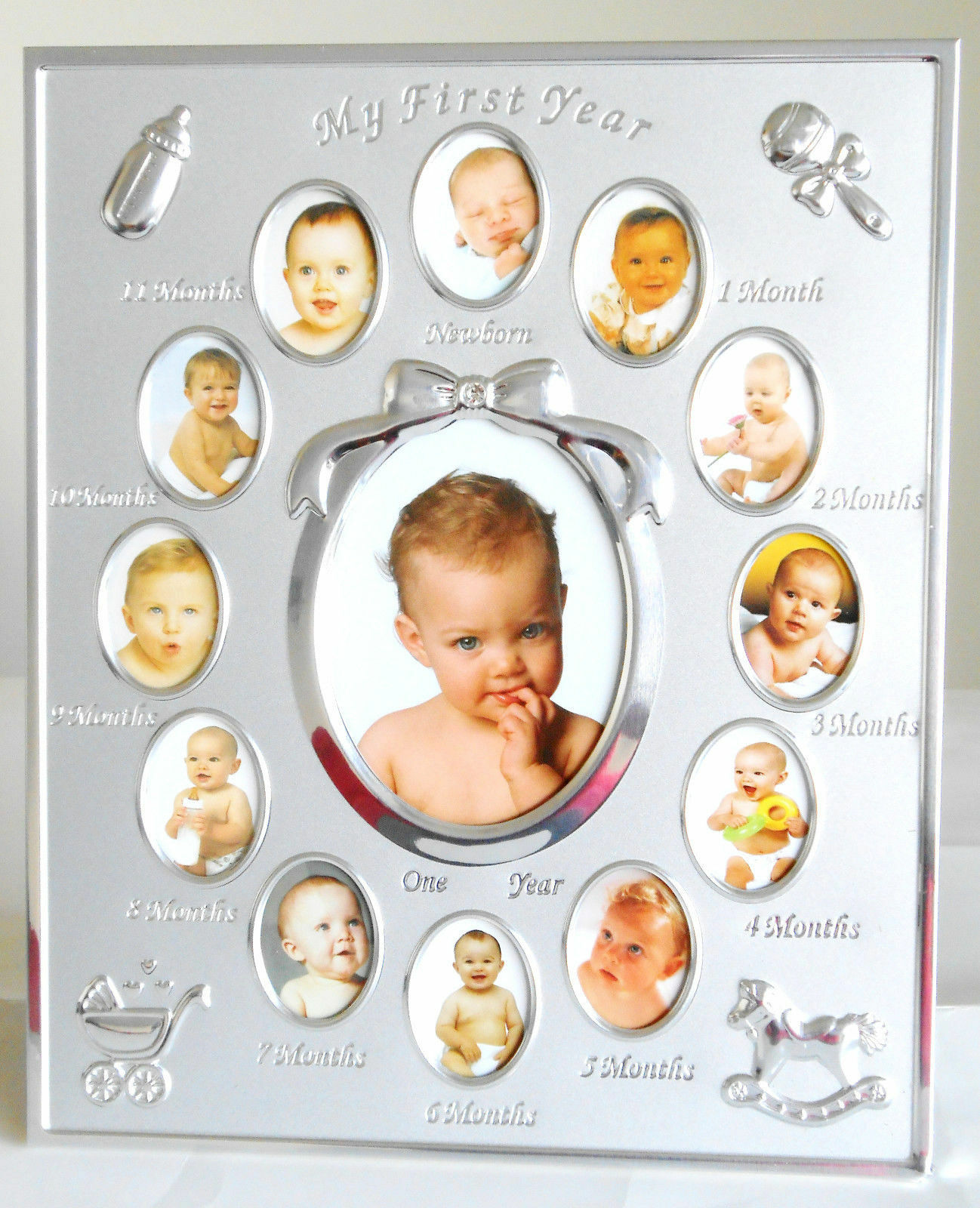 FIRST YEAR BABY PHOTO FRAME SILVER PLATED 12 MONTHS CHRISTENING GIFT ...