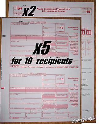 2015 Irs Tax Form 1099 Misc Carbonless    5 Sets For 10 Recipients   2 Form 1096