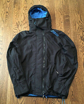 Superdry Jacket Hooded Arctic Pop Zip Windcheater Womens XL Black/Fluro Blue NEW