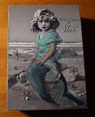 WISH UPON A STAR MERMAID STARFISH WAND PRINCESS Pearl Beach Home Decor Sign NEW