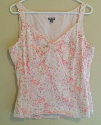 Ann Taylor Sleeveless Top Blouse Size 14 Off-White & Pink Floral, Cotton, V (White Cotton V-neck Sleeveless Top)