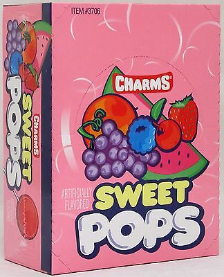 Charms Sweet Pops Suckers 48 Count Box Candy Flat Pop Lollipops Bulk Candies](Bulk Lollipops)