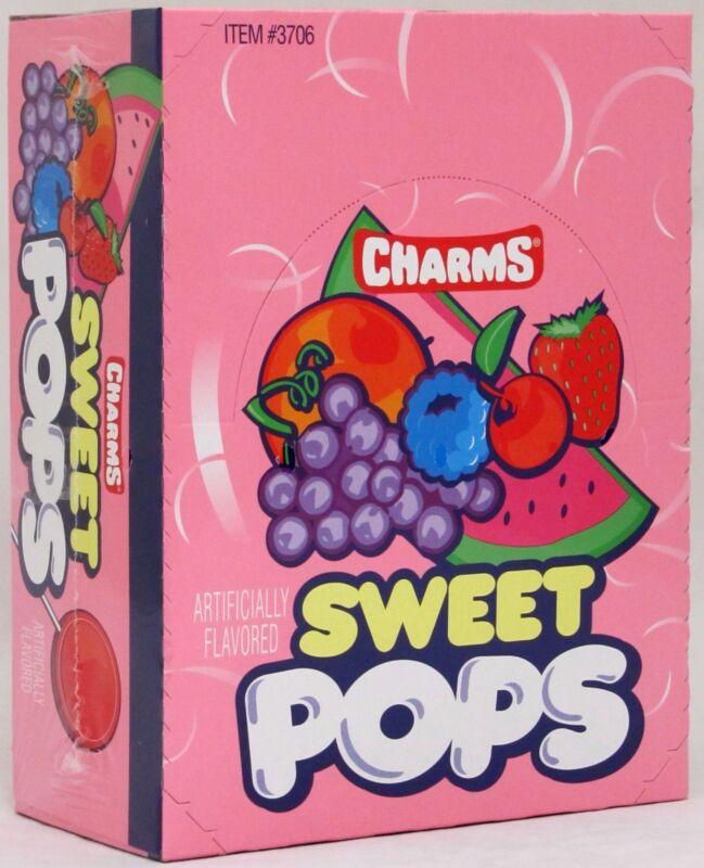 Charms Sweet Pops Suckers 48 Count Box Candy Flat Pop Lollipops Bulk Candies