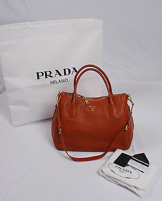 NWT Prada Vitello Daino Leather Shopping Satchel Shoulder Bag BN2318 RAME Orange