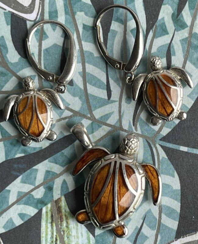 NA HOKU Koa Inlay Sterling Silver Honu Sea turtle Pendant & Earrings Set