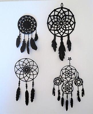Dream catcher Intricate Paper Die Cut Embellishments scrapbooking 4 pc Black