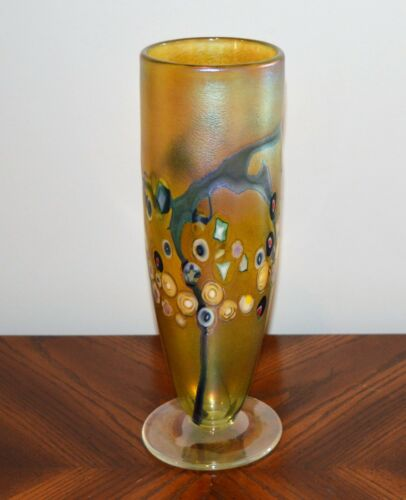 Tall Robert Held iridescent vase with stylized floral decoration hand blown