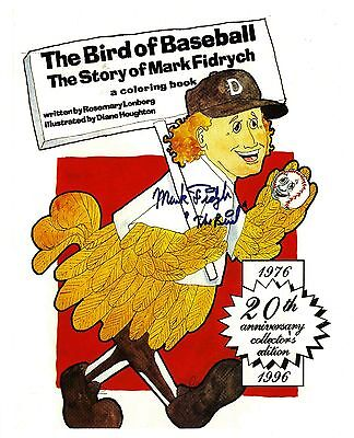 "Mark ""The Bird"" Fidrych reprinted autograph on 20th Anniversary Coloring Book"