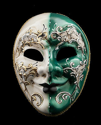 Mask from Venice Green and White Cream for Evening Ballgown 1386 V53