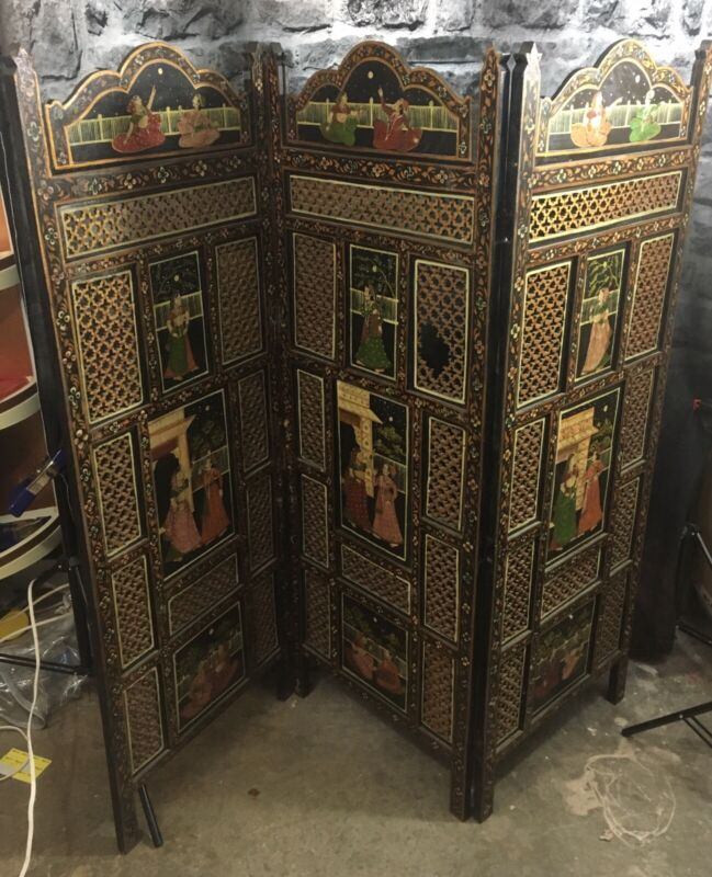 """54"""" Hand Painted Wooden Room Divider India"""