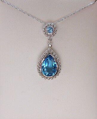 14k Gold Blue Topaz Necklace (NEW 2.3ct Swiss Blue Topaz  & Diamond Pendant Necklace- White 14k Gold 18