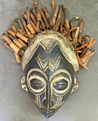 African Chokwe Chikunga Mask Bamboo Hair Wood Congo