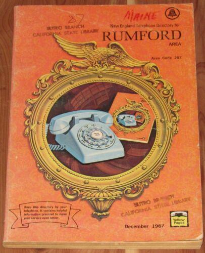 1967 MAINE TELEPHONE DIRECTORY, RUMFORD AREA, AREA CODE 207