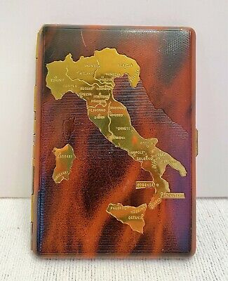 Vintage Savinelli Genova Cigarette Case With Map Of Italy Brown & Gold