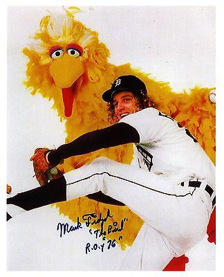 """Mark """"The Bird"""" Fidrych and Sesame Street """"Big Bird"""" reprinted autograph"""