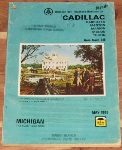 1968 CADILLAC MICHIGAN TELEPHONE DIRECTORY, HARRIETTA, MANTON, MARION, McBAIN
