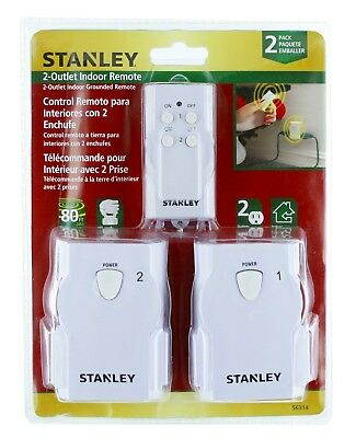 Stanley Twin Grounded 2-Outlet Indoor Wireless Remote Control w/ Transmitter