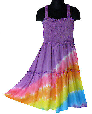 Girls Purple Rainbow Tie Dye Dress Multi Color Sundress Summer NEW Sizes 4 6 8