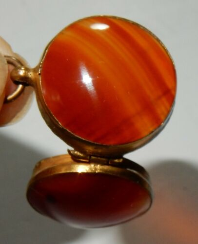 Antique Yellow Metal Banded Agate Double Sided Ball Orb Hinged Pendant Locket