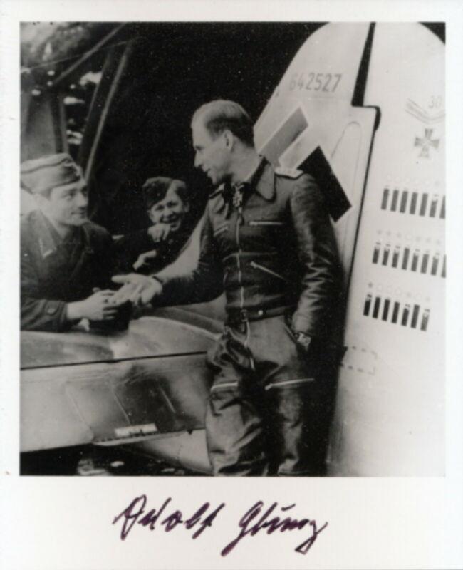 Adolf Glunz signed photo-Luftwaffe Ace. 71 kills.