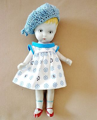 """Vintage 6.5"""" Jointed Bisque Character Doll Made in Japan w/some FLAWS + Clothes"""