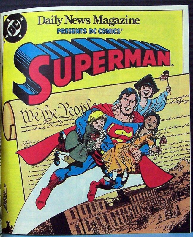 """Really Scarce! SUPERMAN """"We The Children"""" Comic Book Insert NY Times 1987 MINT"""
