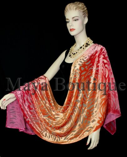 Maya+Matazaro+Hand+Dyed+Magenta+Orange+Camellia+Shawl+Wrap+Scarf+Burnout+Velvet+