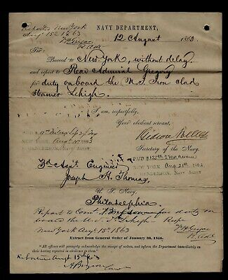 CIVIL WAR Secretary of Navy Orders Engineer Report for Duty on IRON CLAD SHIP !!