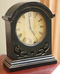 BLACK WOOD TABLE CLOCK VINTAGE STYLE FACTORY FINISH CAFE MARGUERITES VICTORIAN